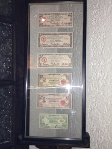 """In World War 2, anti-Japanese guerillas created these currency bills to secretly counteract the effects of the under-valued """"Mickey Mouse"""" money at that time. Possession of these bills meant arrest and imprisonment back then."""